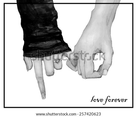Affectionate relationship. Watercolor freehand drawing. Vector monochrome version - stock vector