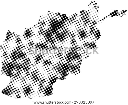 Afghanistan map vector in dots patterns, Afghanistan map outlines in a contrasted black and white dots background - stock vector