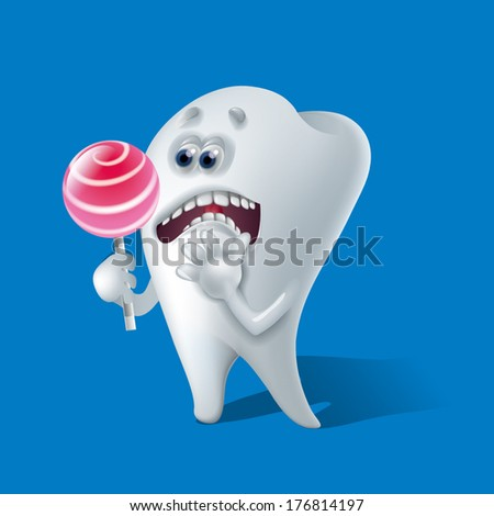afraid tooth - stock vector