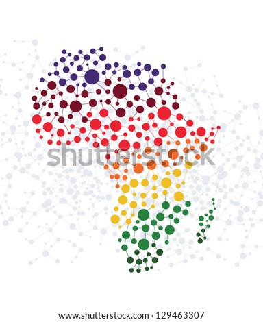 Africa abstract background with dot connection vector - stock vector