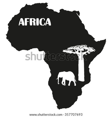 Africa and elephants with baobab - stock vector