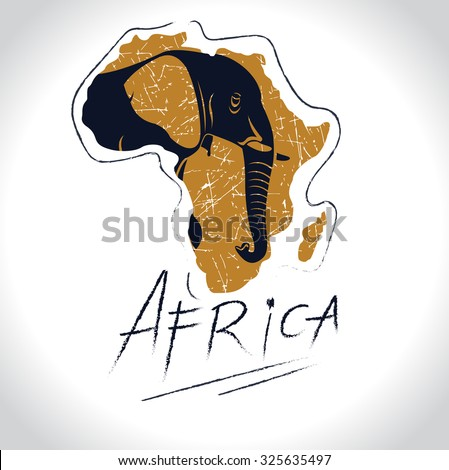 Africa and Safari with the elephant logo 3 - stock vector