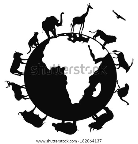 africa animal around the world - stock vector