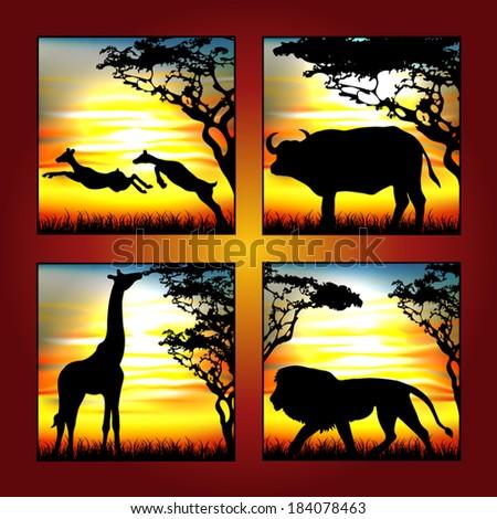africa animal safari - stock vector