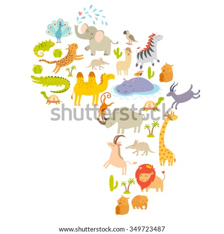 Africa animals map silhouettes. Africa animals vector. Africa map. Isolated on white background illustration. Colorful cartoon mammals for children, kids. Eeducation, travelling, continents, drawn - stock vector