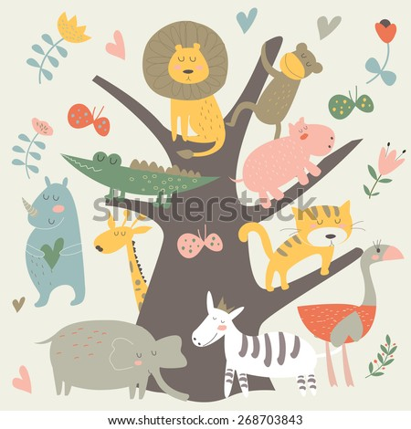 Africa animals sitting on a tree. Cute alligator, monkey, tiger, lion, elephant, rhino, hippo, ostrich and zebra in cartoon style. - stock vector