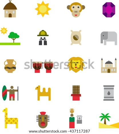 AFRICA colored flat icons - stock vector
