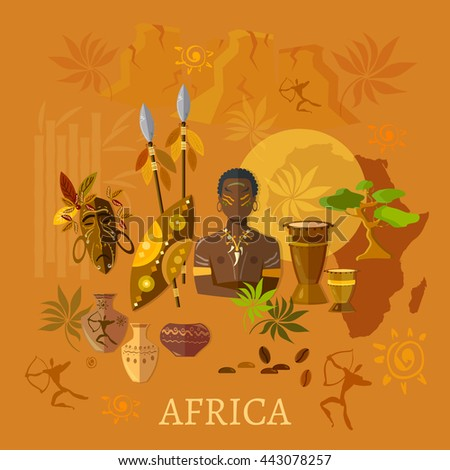 Africa concept african traditions and culture tribes of Africa vector illustration - stock vector