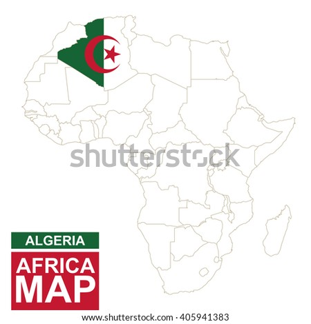 Africa contoured map with highlighted Algeria. Algeria map and flag on Africa map. Vector Illustration. - stock vector