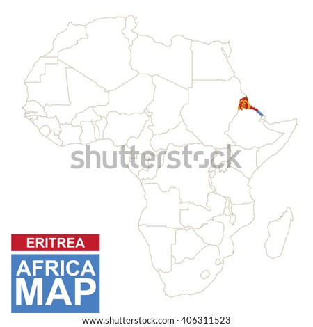 Africa contoured map with highlighted Eritrea. Eritrea map and flag on Africa map. Vector Illustration. - stock vector