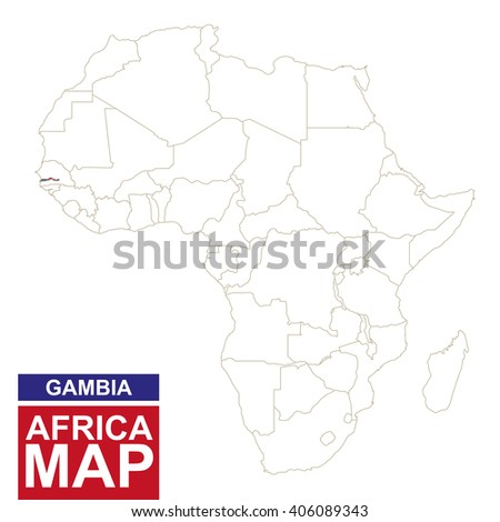 Africa contoured map with highlighted Gambia. Gambia map and flag on Africa map. Vector Illustration. - stock vector