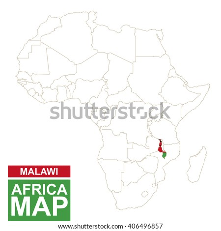Africa contoured map with highlighted Malawi. Malawi map and flag on Africa map. Vector Illustration. - stock vector