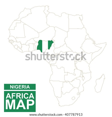Africa contoured map with highlighted Nigeria. Nigeria map and flag on Africa map. Vector Illustration. - stock vector