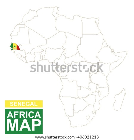 Africa contoured map with highlighted Senegal. Senegal map and flag on Africa map. Vector Illustration. - stock vector