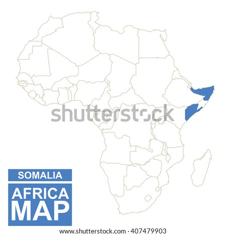 Africa contoured map with highlighted Somalia. Somalia map and flag on Africa map. Vector Illustration. - stock vector