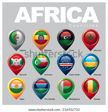 AFRICA Countries - Part THREE - stock vector