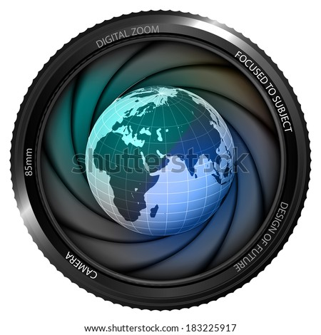 Africa earth globe in shutter ready to snapshot isolated vector illustration - stock vector