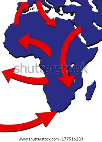 Africa Expansion Market Trade Routes Business Map 3D - stock vector