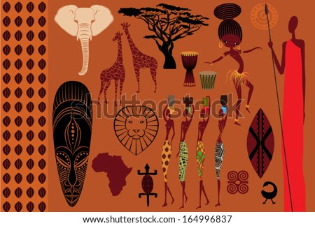Africa: Icons, Symbols and Seamless Pattern - Set of Africa-themed design elements, including African mask, Masai warrior, African dancer, women, wildlife and seamless pattern - stock vector