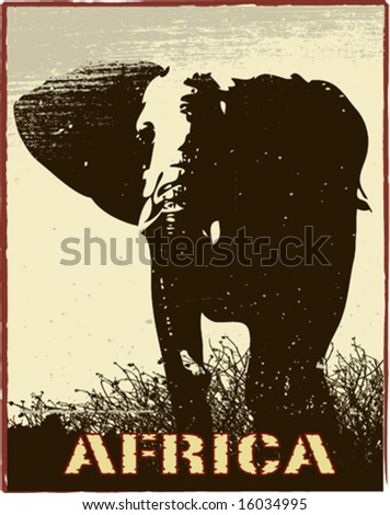 Africa image with elephant silhouette - stock vector