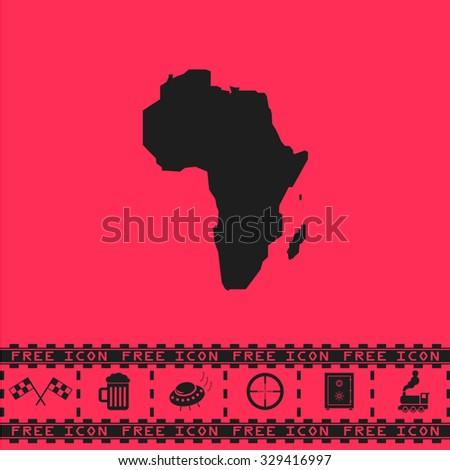 Africa Map. Black flat vector icon and bonus symbol - Racing flag, Beer mug, Ufo fly, Sniper sight, Safe, Train on pink background - stock vector