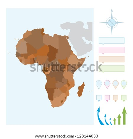 AFRICA Map. Cartography collection. Vector illustration. - stock vector