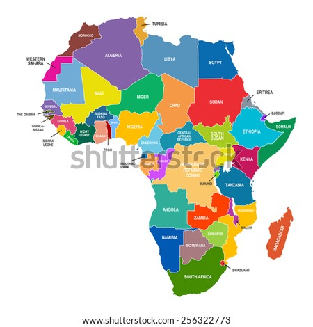 Africa Map Colored Countries Shapes - stock vector