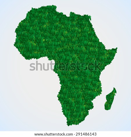 Africa map from grass - stock vector