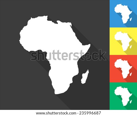 Africa map - gray and colored (blue, yellow, red, green) vector illustration with long shadow - stock vector