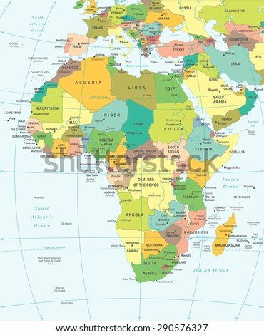 Africa map - highly detailed vector illustration - stock vector