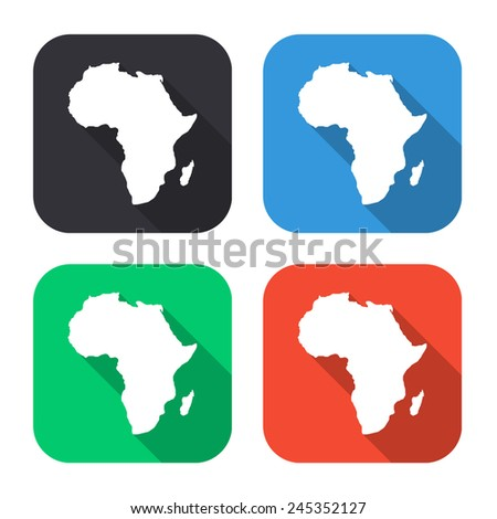 Africa map icon - colored illustration (gray, blue, green, red) with long shadow - stock vector