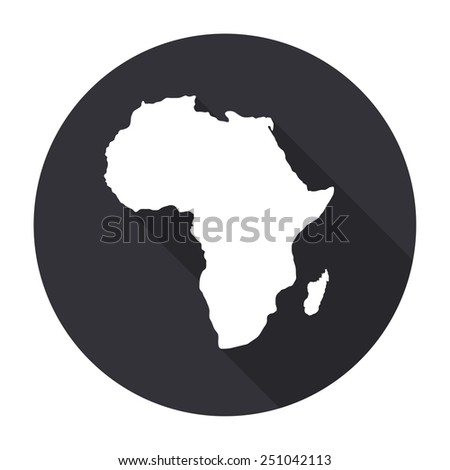 Africa map icon with long shadow - vector round button - stock vector