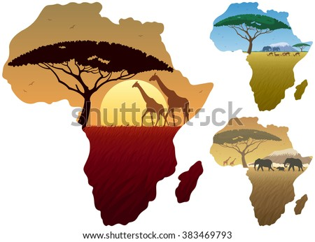 Africa Map Landscapes: Three African landscapes in map of Africa.  - stock vector