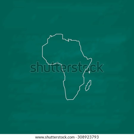 Africa Map. Outline vector icon. Imitation draw with white chalk on green chalkboard. Flat Pictogram and School board background. Illustration symbol - stock vector