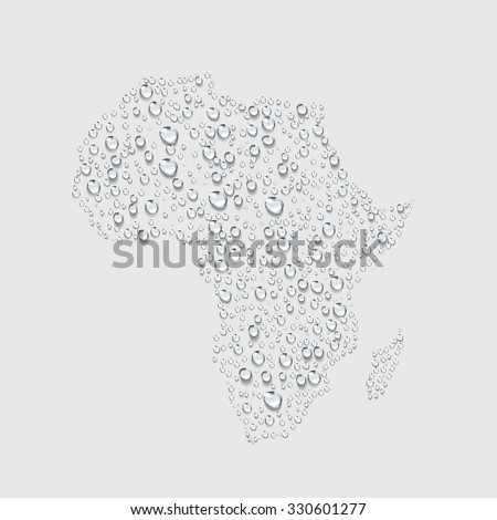 Africa map , transparent water drop vector - stock vector
