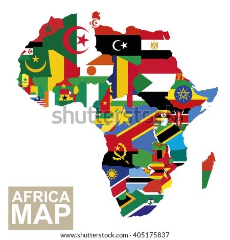 Africa map. Vector map of Africa with flags. African countries flag. Vector Illustration. - stock vector