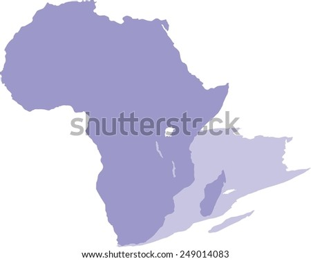 Africa map with shadow, isolated on white background, vector - stock vector