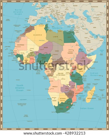 Africa old vintage political map with separated layers. - stock vector