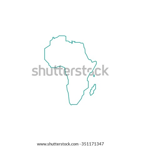 Africa Outline vector icon on white. Line symbol pictogram  - stock vector