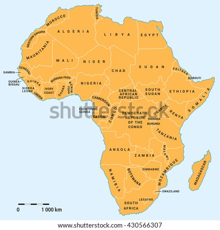 Africa political map with actual borders 2016. African continent and Madagascar island, background for your infographics. All data are in layers for easy editing vector map. - stock vector