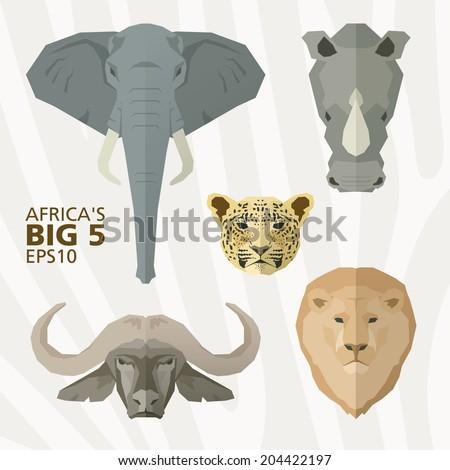 Africa's big 5 animals - stock vector
