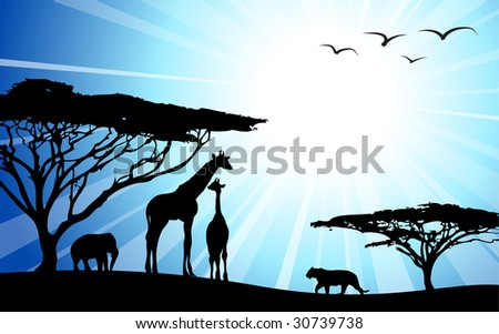 Africa / safari - silhouettes of wild animals in dawn - stock vector