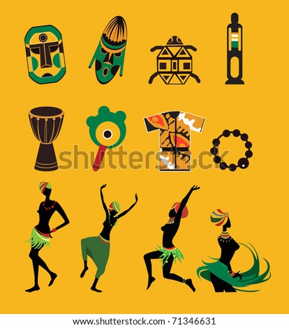 Africa set - stock vector