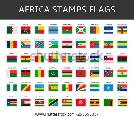 africa stamps flags vector - stock vector