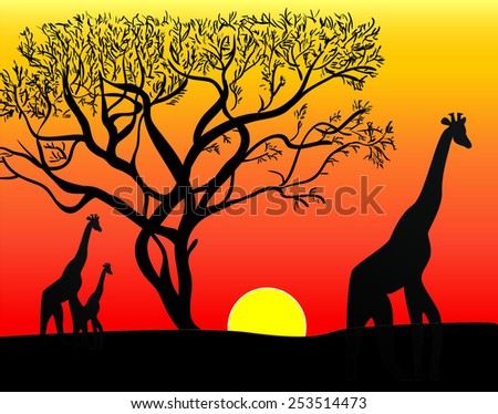 Africa Sunset - stock vector