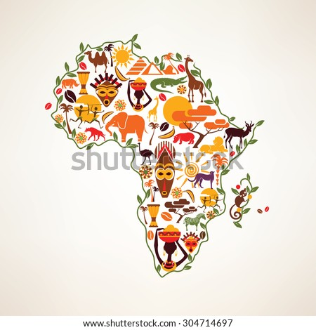 Africa travel map, decorative symbol of Africa continent with ethnic vector icons - stock vector