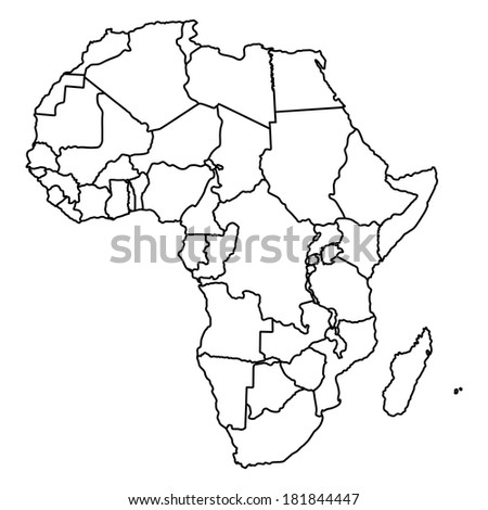 Africa vector map isolated on white background. High detailed illustration. - stock vector
