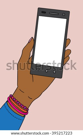 African american black skin female hand with smartphone. Vector illustration. - stock vector