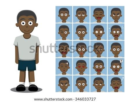 African American Boy Cartoon Emotion faces Vector Illustration - stock vector