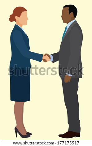 African American business man and Caucasian business woman shaking hands in business suits - stock vector